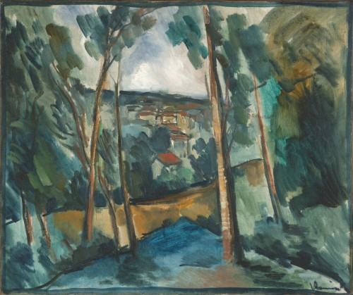 cavetocanvas:  Maurice de Vlaminck, Village in the Valley, c. 1913 From the Indianapolis Museum of Art:  When Vlaminck painted this landscape in 1913, he had already begun to tame the exuberant palette of his Fauve works in favor of a color scheme based on earth tones. Here Vlaminck explores issues of composition and pictorial structure, inspired in part by the carefully ordered landscapes of Paul Cézanne. He balanced the trees at left and right and presented the distant village as a network of faceted planes. The unrestrained brushwork sustains the vigorous handling common to Vlaminck's Fauve canvases.