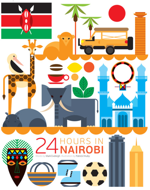 theblackme:  24 Hours In Nairobi What would you do if you had 24 hours in Nairobi, Kenya? Would you head into the city or check out the wildlife at Nairobi National Park? What ever you choose to do I am convinced it's going to be an adventure. The March issue of Qatar airways' inflight magazine Orxy did the hard work, and explored the city to give you an insight into some of the jewels, The article is accompanied by the illustration above, which was created by illustrator Patrick Hruby. Patrick include some of the capitals iconic things to see and do, such as the animals in the Nairobi National Park, the Jamia Mosque and the crafts at the Nairobi city centre market.