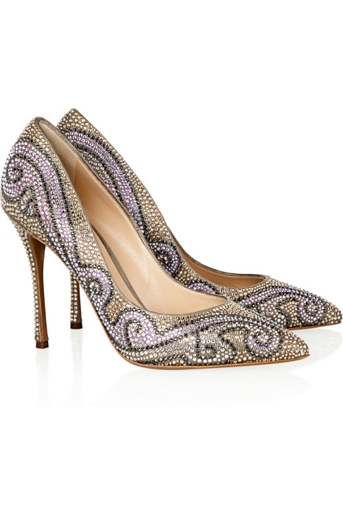 Hot shoe of the day: Nicholas Kirkwood  Swarovski crystal embellished suede pumps.