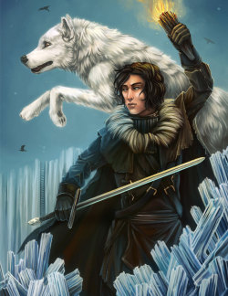 "Game of Thrones Triptych, July 2012.Illustrations of Jon Snow, Arya Stark, and Daenerys Targaryen from A Song of Ice and FIre novels by George R. R. Martin, in Photoshop at 11""x17""."