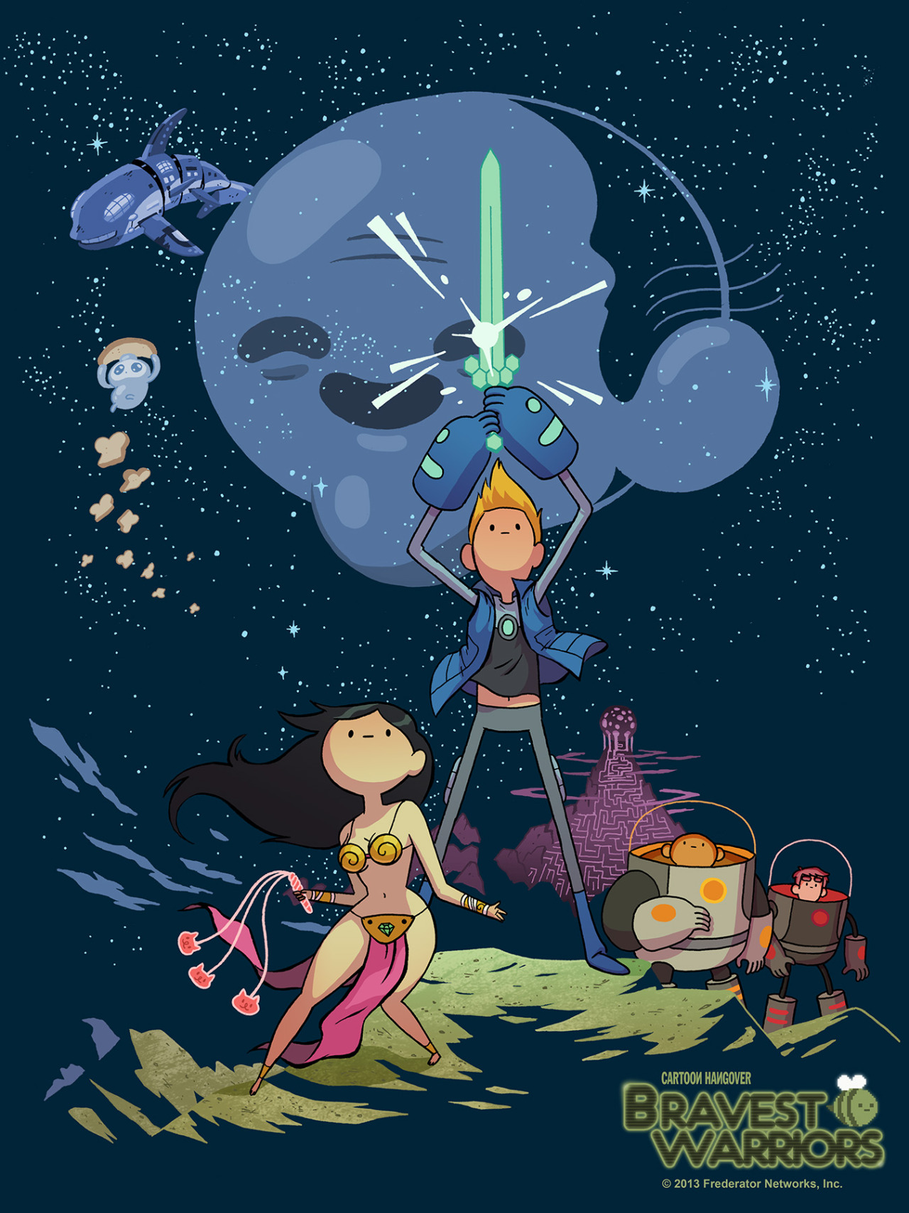 Hero's Journey Thanks to Mr Julian Callos for this terrific Bravest Warriors take on the Brothers Hildebrandt classic. Break open that piggy bank, because Julian's art, thanks to Mighty Fine, is now available on a print, an iPhone case, and a T-shirt.