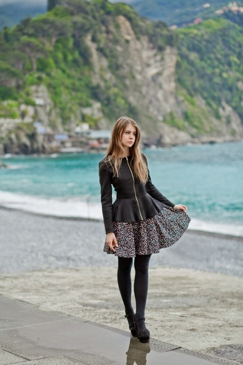 fashion-tights:  Black jacket and dress with tights and heels