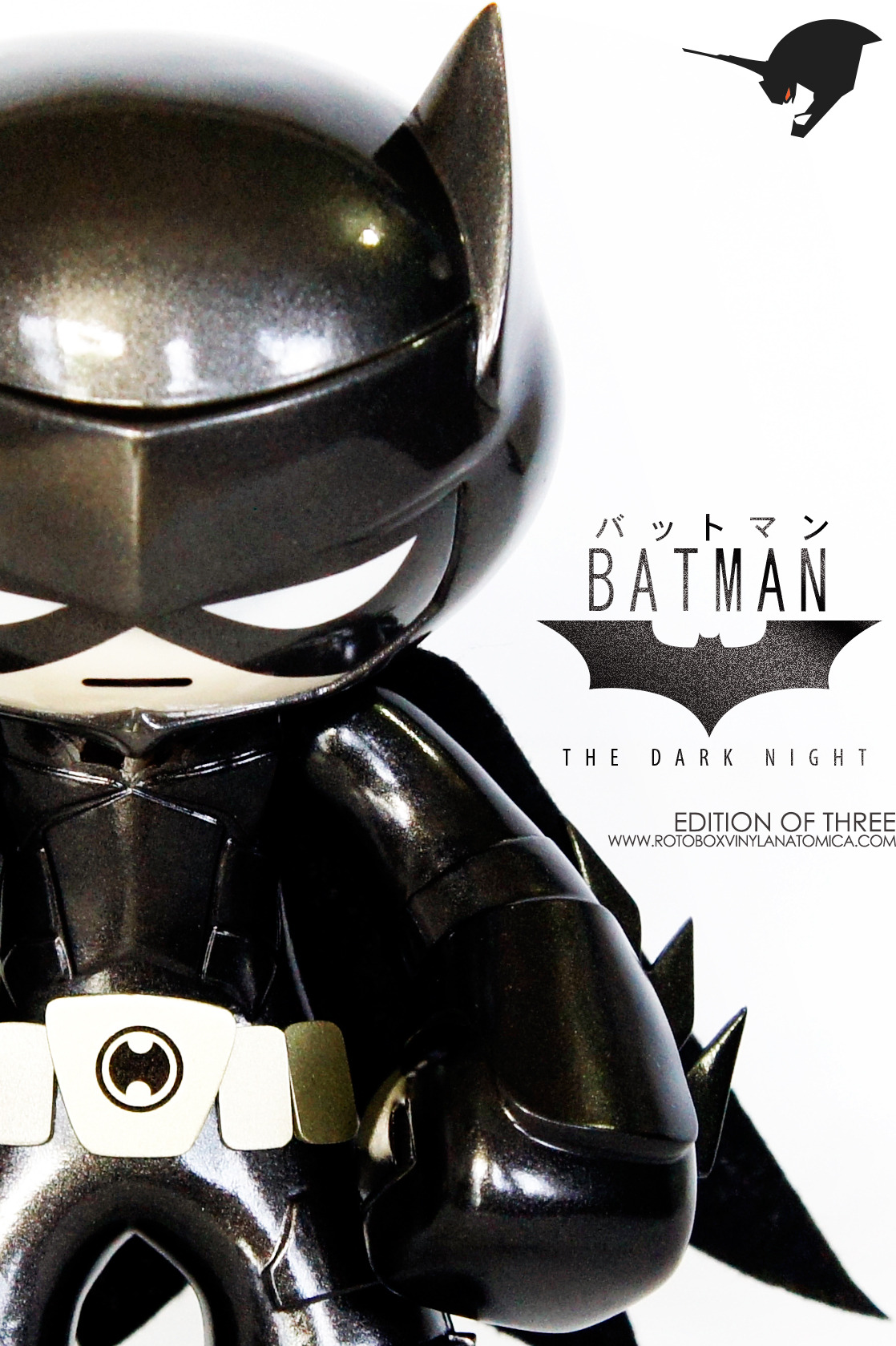 Batman: The Dark Knight Celsius by Rotobox Holy custom vinyl, Batman! Rotobox's newest work is based on the design from the Dark Knight trilogy. The armor is sleek, especially the bat ears, and that metallic dark grey paint job is ridiculously sexy. You can pick up one of the three editions of the toy right here. Check it: More Rotobox on Albotas