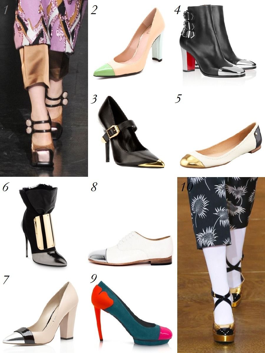 Trend Watch: Cap Toe Shoes Vintage inspired shoe trends can be a little iffy (Marc Jacob's pilgrim shoes?), but these are as chic as they were the day Coco Chanel came up with them in 1957. We are talking, of course, about cap toe shoes. We saw them this spring and were overjoyed to see designers continue to embrace the mixed material footwear for fall.  1. Louic Vuitton 2. Stuart Weitzman 3. Versace 4. Christian Louboutin 5. Kate Spade 6. Giuseppe Zanotti 7. Nicholas Kirkwood 8. Dieppa Restrepo 9. Kenzo 10. Marni