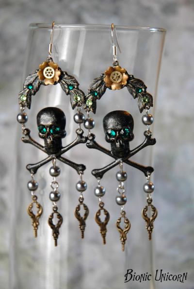 Nixie Skull and Crossbones Earrings by Bionic Unicorn
