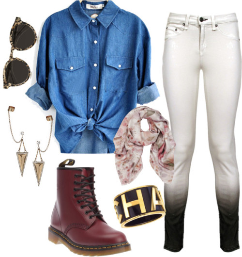 Try Harder by citylights-xo featuring gold braceletsBlue shirt / rag & bone cotton pants / Dr. Martens  boots, $98 / Chanel gold bracelet / Topshop ear cuff earrings, $10 / Mulberry printed scarve / Illesteva round frame sunglasses