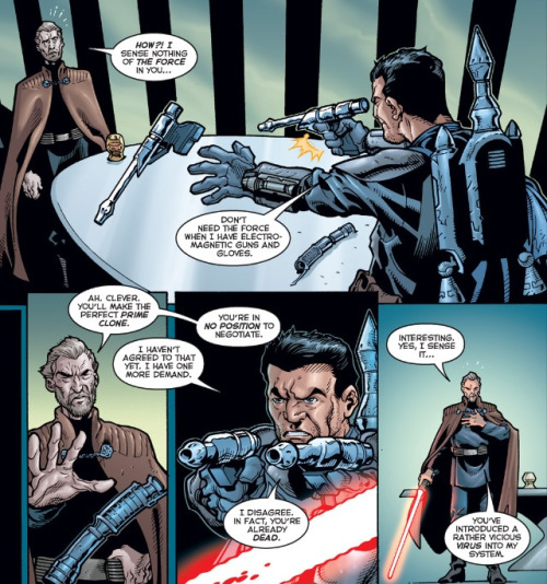 "This panel from ""Jango Fett: Open Seasons"" demonstrates where Boba Fett learned to be so clever."