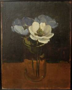 Albert York, Blue Anemones in Glass Jar, 1968. Oil on plywood, 14 x 11 inches.