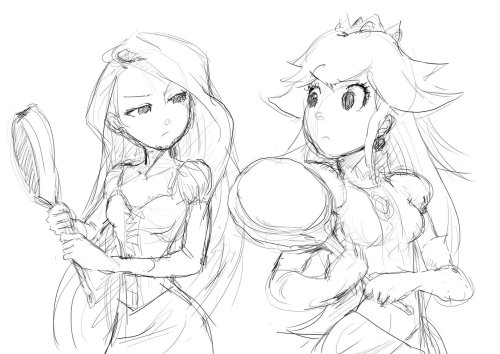 Really cute sketch of Rapunzel and Princess Peach and their common use of frying pans as weaponry lol!  by the very talented moxie2d of deviant art