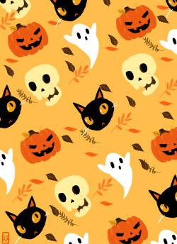 Illustration My art Halloween skull fall autumn pattern skeleton ghost Black Cat pumpkin jack o lantern 2spoopy