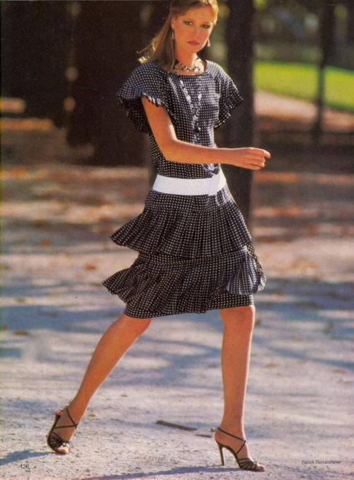 """Paris News : What's Best, What To Watch"", Vogue US, January 1980Photographer : Patrick DemarchelierModel : Nancy Donahue"