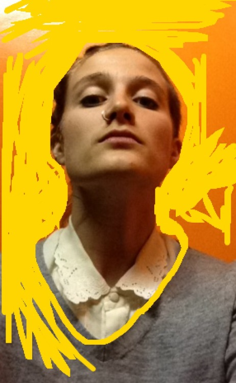 'Cocky' self portrait with yellow. Madi Bycroft, I phone photograph
