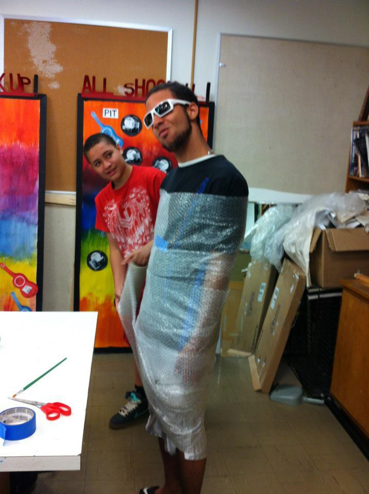 "kankristhighhighs:  In art class my friend rolled himself in bubble wrap and stayed like that the whole day. When he sat down in our math class the teacher told him to take it off and he didn't want to so he said ""long live the king"" and rolled out the door and down the hallway. And all you could hear was the faint popping of the bubblewrap as he rolled away. My teacher never went after him."