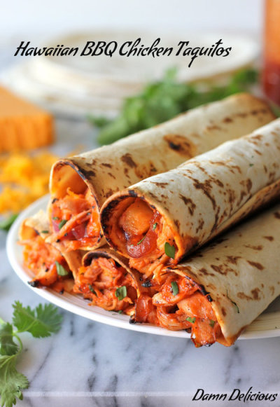 Hawaiian BBQ Chicken Taquitos