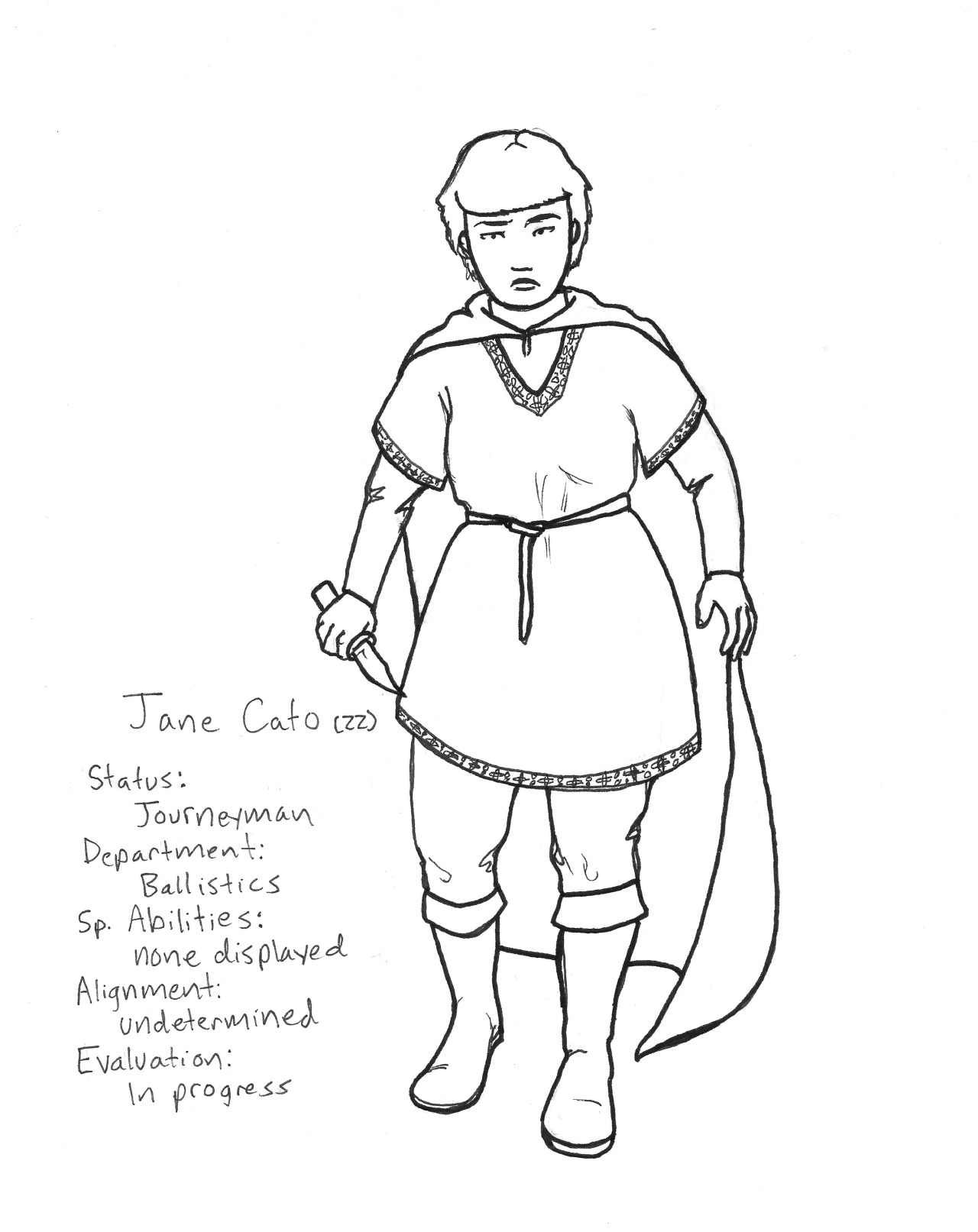 To start us off, here's my (probably) final design for co-protagonist Jane Cato. Jane has completed the requisite six years of secondary magical studies and is now classified as a journeyman mage, although she has yet to distinguish herself whatsoever in her field of study. She is the only heir to the esteemed Cato lineage, and is carrying on her family's legacy of war magic, despite a great deal of advice to the contrary. An informal survey of Jane's professors and peers suggests that Jane's most appealing personal quality is being very, very wealthy.
