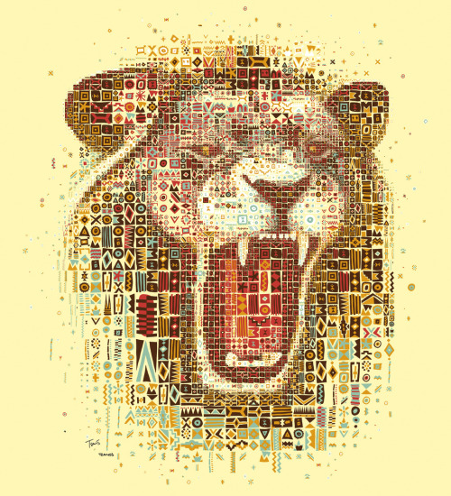 "Kozi's Lion (by tsevis) Kozi's is a grill house in Athens, Greece. I believe they have the best burgers in the world.  The restaurant belongs to Kozi Tzanos and his family who are Greeks from South Africa. They brought with them the culture of a traditional Sunday Lunch Braai, combined it with the Mediterranean spirit and landed up with a great place. Dimitra Tzanos has designed and developed all the African inspired doodles, the color set and the visual identity of the shop that I have used for this work. Best viewed large.  Attention: Big file. (10240 x 11264 = 34.1"" x 37.5"" @ 300 ppi) Alternately you can zoom in to the high res (115 megapixels) file with Microsoft ZoomIt. Made with custom developed scripts, hacks and lots of love, using my Mac, Synthetik Studio Artist, the Adobe Creative Suite and good music. Partially based on a photo downloaded from Shutterstock. See all my African inspired art. Some details: Some photos from Kozi's restaurant:"" />"