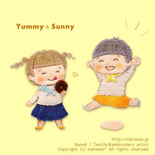 三頭身キャラと布絵のバリエーション研究で、【Yummy&Sunny】というキャラクターを考えました。「Yummy」は以前描いたイラストの女の子をアレンジ。食いしん坊のYummyと陽気なSunnyコンビで、これから物語のある布絵を色々描いていく予定です。 #marmelo*#布絵#nunoe#embroidery#original character#character#applique#illustration#illustrator#handicraft#picturebook#絵本#子ども向け#挿絵#kawaii