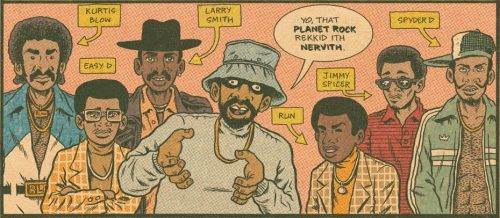 fantagraphics:  edpiskor:  @unclerush makes his first appearance in a while. http://boingboing.net/2013/04/16/brain-rot-hip-hop-family-tree-54.html  New Hip Hop Family Tree page from Ed Piskor. Book this Fall.