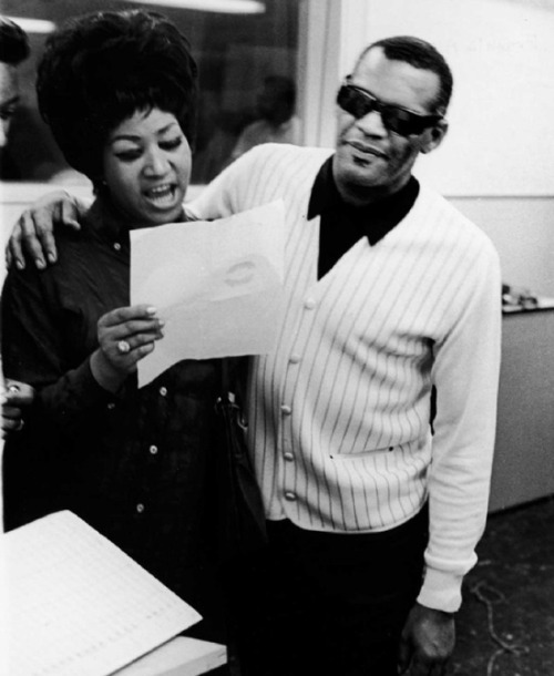 theswinginsixties:  Aretha Franklin and Ray Charles, 1968.