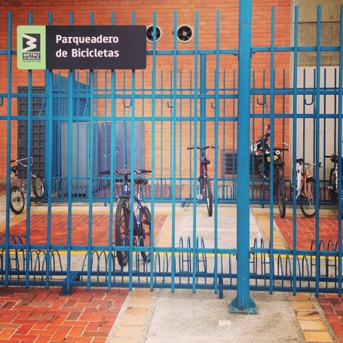 #letsbikeit_la Protected #bicycle parking on a metro station. #Medellin, #Colombia.
