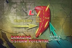 Severe Weather Next Week Texas to Kansas, Missouri  As a storm emerges from the Rockies Monday, severe thunderstorms are forecast to fire from Texas to Kansas and could cross the Mississippi River later next week.