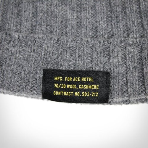 Our Ace Hotel Wool & Cashmere Beanie keeps your thinking cap feeling soft and warm on high country strolls in brisk winter weather, with or without a St. Bernard with a thermos of spiked cocoa on his collar. Made of ribbed wool and cashmere, with interior, fold-out Ace-branded label, it's available in navy, olive drab and heather grey. Keep that big, beautiful brain of yours in the lap of luxury this winter.