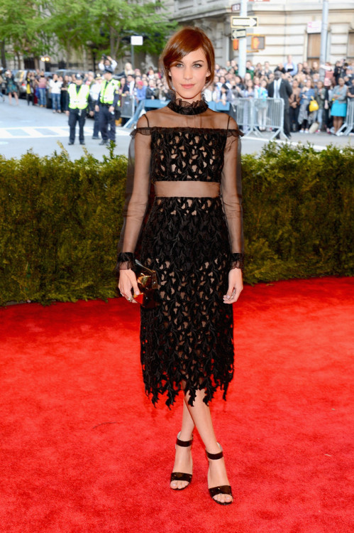 "Alexa Chung attends the Costume Institute Gala for the ""PUNK: Chaos to Couture"" exhibition at the Metropolitan Museum of Art on May 6, 2013 in New York City."