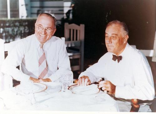 The first meeting between Harry S. Truman and President Franklin D. Roosevelt after Truman won the Democratic Vice-Presidential nomination at the Democratic National Convention.  8/18/44.  We don't get to see too many color photos of FDR or Truman but you can find more in the Truman Library's digital catalog and some handpicked choices here.