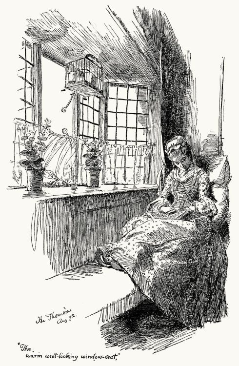 The warm west-looking window seat.  Hugh Thomson, from The ballad of Beau Brocade and other poems of the XVIII century, collective work, London, 1903.  (Source: archive.org)