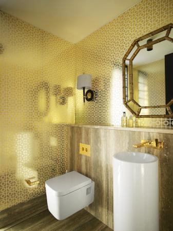 thedecorista:  oh hey amazing gold bathroom. via