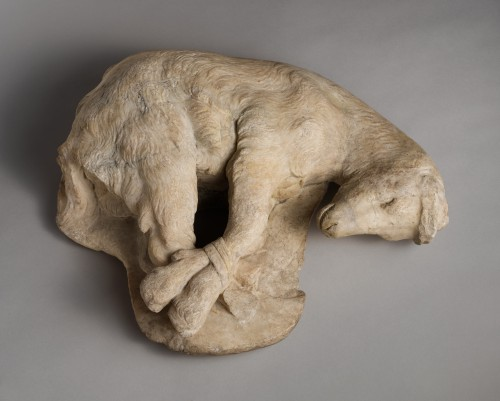 ancientpeoples:  Marble Statue of a Bound Goat 1st - 2nd century AD Roman Imperial This sensitively rendered goat with bound feet realistically evokes the widespread practice of animal sacrifice in ancient Greece. This statue, however, was probably a votive offering, perhaps to a deity with a rustic nature, such as Pan, Artemis, or Dionysos. Source: The Metropolitan Museum