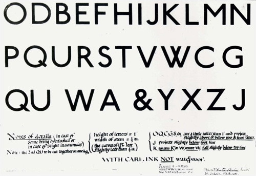Edward Johnston's 1916 hand-drawn alphabet for the London Underground, the world's first subway system, which celebrates its 150th anniversary this year.