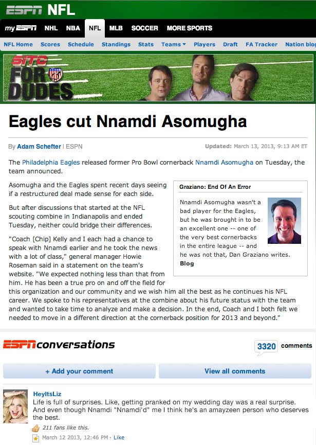 Liz Reacts: Eagles Cut Nnamdi Asomugha