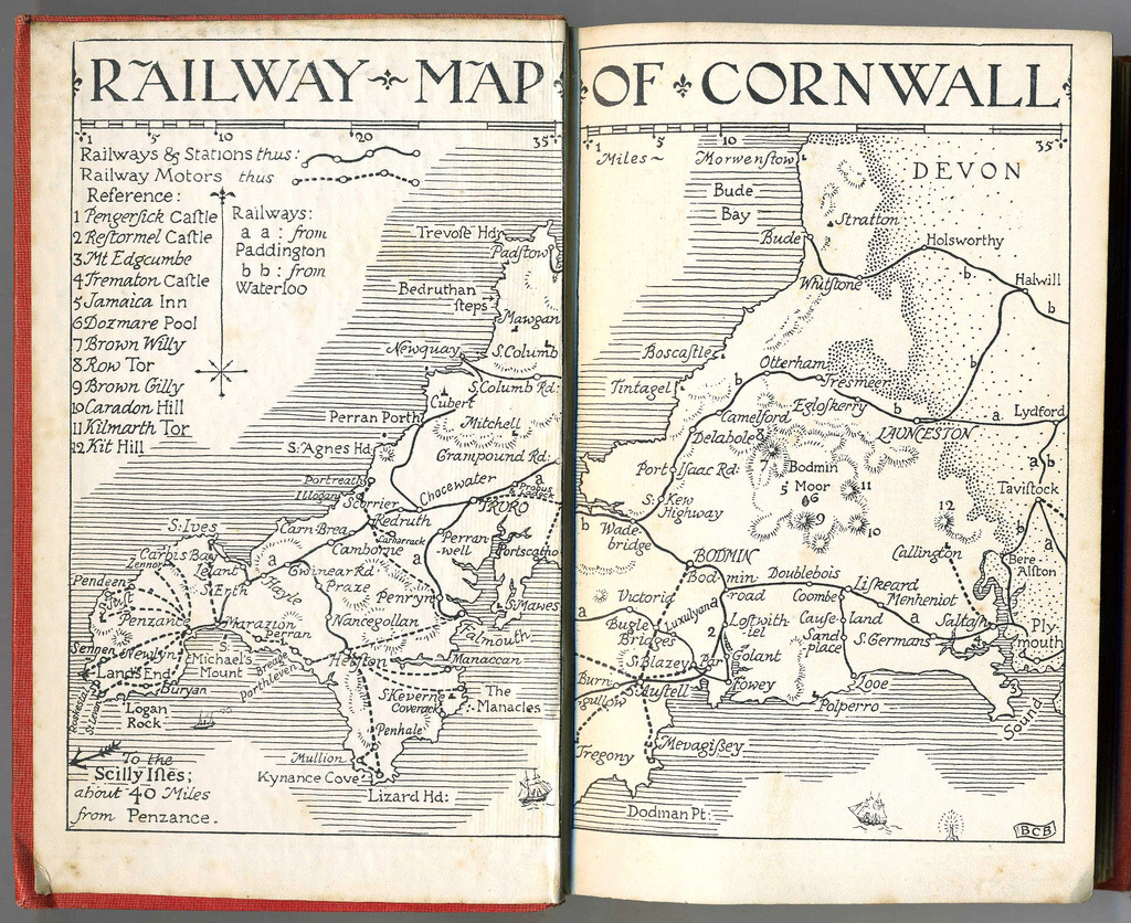 "Historical Map: Railways in Cornwall, 1936 An absolutely gorgeous hand-drawn map from a ""Little Guide"" to Cornwall published by Methuen in 1936. Drawn by B.C. Boulter, who also illustrated the guide book.  (Source: Lost-Albion/Flickr)"