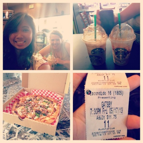 Yummy. #starbucksaddict #picstitch #gatsby #sundaymovienight #afterchurch #pizzeria