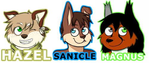 pyro-paws:  Magnus commissioned me for the Sanicle and Magnus badges and the Hazel badge is a gift for Katie :D Badge commissions for Confuzzled like these are open until this Friday. Prices are £3 each or 2 for £5 :D More information here