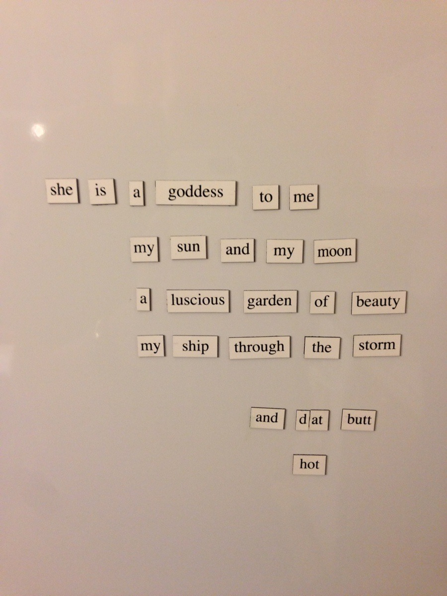 aripinthefabricofreality:  tush:  My wife didn't appreciate my fridge magnet poem.  Oh my god. I will be your wife? Yes? Yes? This is the most romantic poem I am ever read. Also I totes have a great butt.