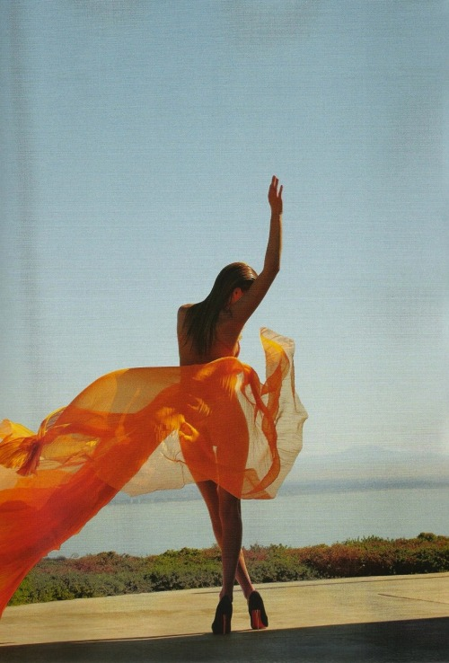 Sunset, Edita Vilkevičiūtė by Jeff Burton for Numéro, February 2011