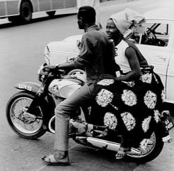 nigerianostalgia:  A man and a lady on a motorcycle in Lagos Nigeria (1969)Vintage Nigeria