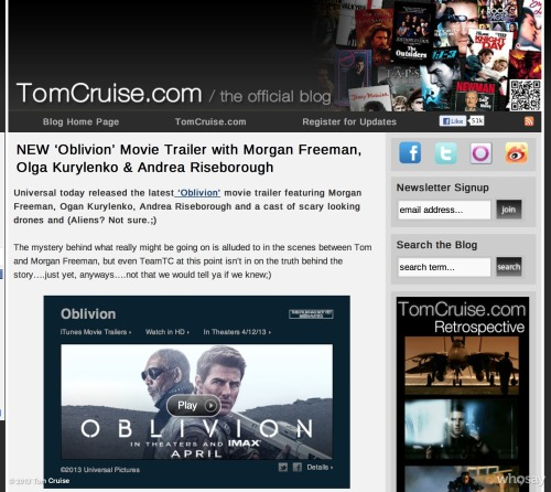 Universal Pictures & Apple Trailers JUST released a NEW'Oblivion' movie trailer w/ Morgan Freeman, Olga Kurylenko & Andrea Riseborough! http://clicky.me/OblivionMovieTrailer2 What's the secret behind what's REALLY going on? What does Morgan Freeman know?!?!? -TeamTCView more Tom Cruise on WhoSay