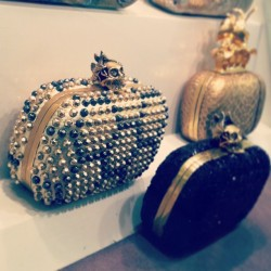 Addicted to and gaping at studded heavy metal clutch bags #mcqueen #gold #studs #skull #metal #clutch #purse #bag #accessory #design #luxury #fashion #style  (at Alexander McQueen)