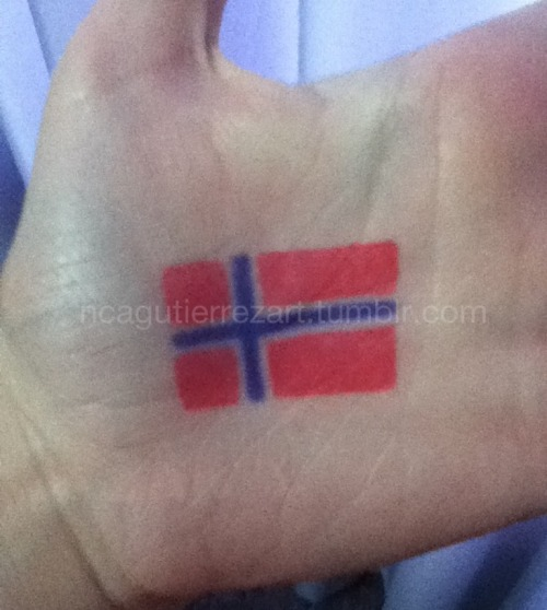 Draw of the Norway flag in my hand.