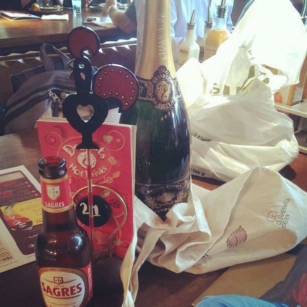 Smashing open the champagne in Nandos :) (at Nando's)