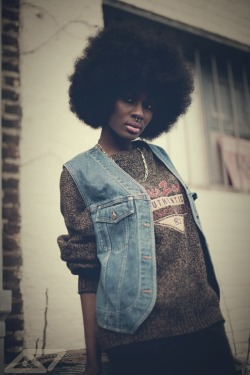 blackfashion:  Vest: thrift store, Sweater: thrift store Destiny, 21, VA haveitupdez.tumblr.com Instagram: ohwawa Photographed by: Darryl Hall Jr
