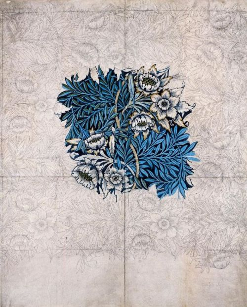 ghostriderii:    William Morris, design for 'Tulip and Willow' printed textile, 1873. Watercolour over pencil on paper.