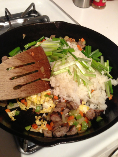Then add rice and delicate veggies…