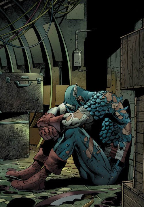 Cap's having a bad day. From Age of Ultron # 1 by Brian Michael Bendis, Bryan Hitch, Paul Neary and Paul Mounts.