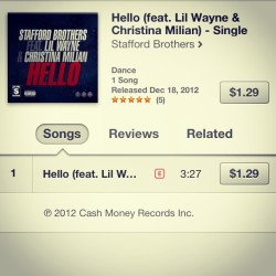 "Look at what's available on iTunes!! The @StaffordBros single ""Hello"" featuring Lil' Wayne and me! Go download it now! The more the better.. #thevoice #christinamilian #lilwayne @liltunechi #djs #edc #music #dance #house #cashmoney #ymcmb #club #nightlife #hello #video #love #single #nowplaying #np #repost"