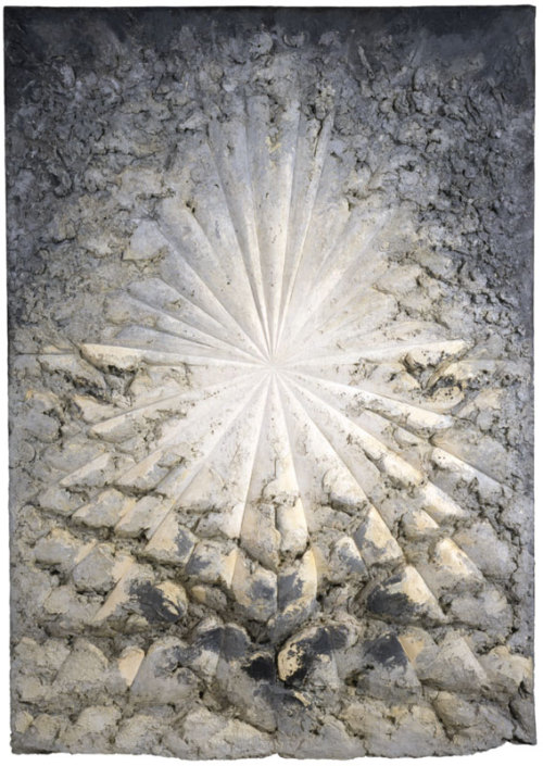 "Jay DeFeo: A Retrospective—""which is as tenderly shaped and as visually stirring as a career survey could possibly be"" (The New York Times)—opens today. Jay DeFeo (1929–1989), The Rose, 1958–66. Oil with wood and mica on canvas, 128 7/8 × 92 1/4 × 11 in. (327.3 × 234.3 × 27.9 cm). Whitney Museum of American Art, New York; gift of the Estate of Jay DeFeo and purchase with funds from the Contemporary Painting and Sculpture Committee and the Judith Rothschild Foundation  95.170. © 2013 The Jay DeFeo Trust / Artists Rights Society (ARS), New York. Photograph by Ben Blackwell"