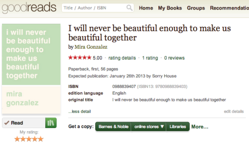 sorryhouse:  Mira's book is now on Goodreads.